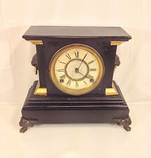 Antique Ansonia Iron and Slate Shelf Clock with Pendulum Runs?