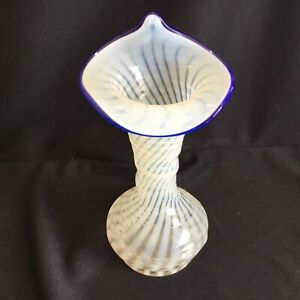 Vintage Fenton Opalescent Swirl with Blue Band Jack in the Pulpit Art Glass Vase