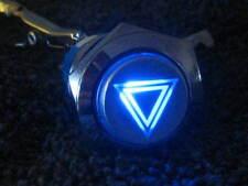 19mm Hazard Warning Light Metal BLUE LED Switch Emergency Button 12V ON/OFF fu