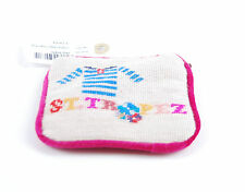 Jonathan Adler Needlepoint Coin Pouch Pink Cream Purse Wallet Zipped BCF58
