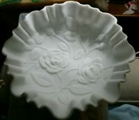 Vintage IMPERIAL MILK GLASS LARGE CRIMPED BOWL ROSES AND LEAVES DECORATION