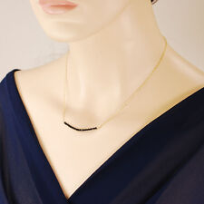 Lovely NATURAL Black Spinel Bar Necklace Dainty 14k Gold Filled 16""