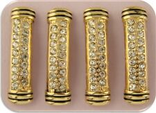 2 Hole Beads Sliders Gold Metal Pavé w/Clear Swarovski Crystal Elements ~ QTY 4