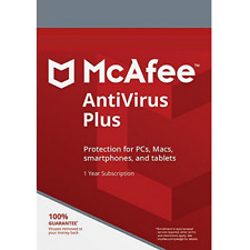 McAfee Antivirus Plus 1 Year Unlimited Devices Digital Key Install New / Renew