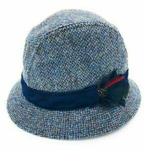 Harris Tweed Drop Brim Hat with Moleskin Trim in Assorted Tweeds GH0361