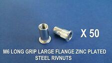 50 X LONG GRIP STEEL ZINC PLATED RIVNUTS M6 NUTSERT LARGE FLANGE NUTSERTS RIVNUT
