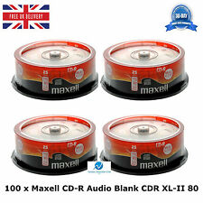 Lot de 100 maxell cd-r cdr xl-ii audio musique 80 mins enregistrables vierges disques cd