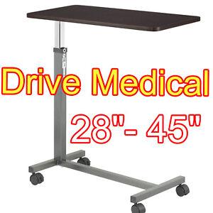 Over Bed Table Tray W/ Wheels Hospital Adjustable Rolling Tilt Top Bedside Trays