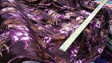 New Top Quality burn out maroon velvet brown&cream Floral Print Fabric  54''w