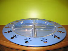 ALESSI *NEW* Plat hors-d'oeuvre bleu 38cm + 4 raviers H.3cm Girotondo