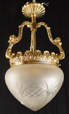 Antique french bronze chandelier ceiling light Original carved glass tulip