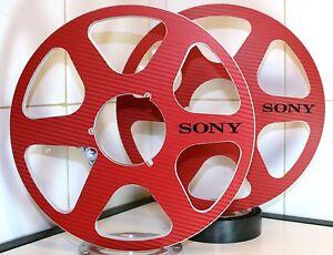 "2 x SONY LOGO RED CARBON FIBER 6 SPOKE LOOK 10.5"" X 1/4"" NAB HUBS REEL TO REEL"