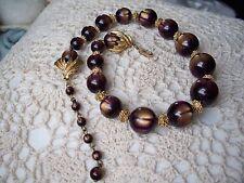 TRIFARI Vintage Purple & Gold Bead Necklace