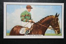 Champion Jockey Freddie Fox on Bahram    Original 1930's Vintage Card  VGC