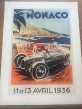 Art Deco Classic MotorSport Car Racing Automobile Poster 16x12 Monaco 1936