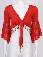 Women's Tassel Bead Belly Dance Crop Tops Lace 3/4 Flare Sleeve Shawl Cardigan