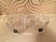 Pair Of Lovely Royal Krona Glass Candle Holders