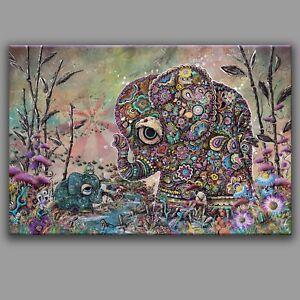 14x21 EMBRACE, elephant love frog time portal zen heart peace adorable flower