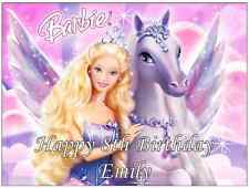 """Barbie Personalised Cake Topper 7.5"""" By 10"""" A4 Edible Wafer Paper"""