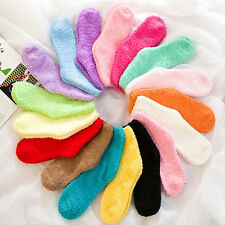 Womens Ankle Socks Fluffy Thick Soft Sock Home Foot Clothing Cute Candy Color
