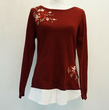 Charter Club Womens Top Layered Look Embroidered Pullover Sweater Dark Red $79