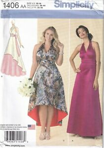 Simplicity Sewing Pattern 1406 Dresses for Evening Wedding Prom, Size 10-18 New