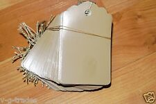 Lot 100 Large Scalloped Kraft Print Paper Merchandise Price Tags with String