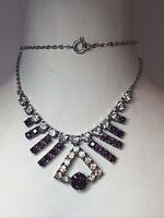 1950s Glass Necklace Bib Style Amethyst Coloured Paste Glass Gems Vintage Retro