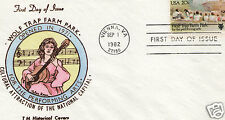 T M HISTORICAL THELMA MAYER WOLF TRAP FARM PARK HAND PAINTED FIRST DAY COVER FDC