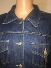 Kitsch Vintage Denim Trench Dress M 100% Cotton Half Belted