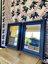 Matching Pair Of French Antique Wall Mirrors Carved Painted Black