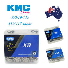 "KMC 8-11s 116/118 Links MTB Road Bicycle Chain double ""X"" Bridge Steel Chains AU"