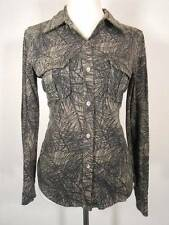 Warm Women's XS L.L. Bean Gray Black Lines Design Long Sleeve Button Blouse GUC