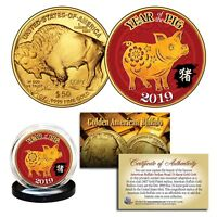 2019 Chinese YEAR OF THE PIG 24K Gold Clad $50 American Buffalo Tribute Coin
