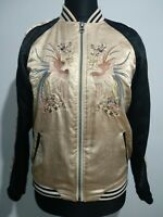 TOPSHOP Beige/black/oriental Bird Reversible Quilted Bomber Jacket Size 10 Japan
