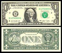 US Currency $1 Dollar Bill 2009 Serial # B * New York Banknote