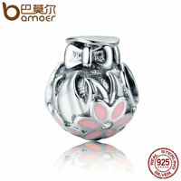 BAMOER S925 Sterling silver Charm Enamel Fresh flower Bead For bracelet Jewelry