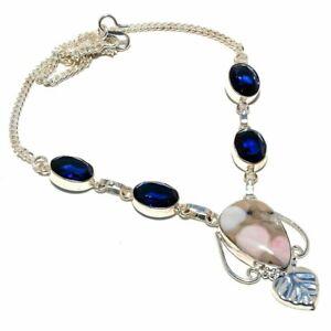"""Ocean Jasper  Blue Sapphire 925 Sterling Silver Jewelry E-56 Necklace 18"""""""