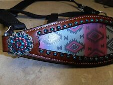 Showman Teal Pink Purple Bling  Navajo Nylon Bronc Leather Noseband Horse Halter
