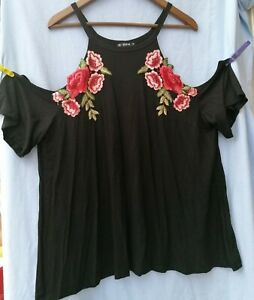 Shein 1xl  Size 18/20 Black Cold Shoulder Top rose embroidery