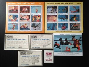 19 Stamp lot, 3 blocks, Disney, Peter and the Wolf, unposted, Maldives.