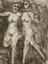 Zygmunt Turkiewicz (Soviet prisoner) hand signed modernist nude etching; 1956
