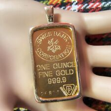 Nueva Barra del lingote Colgante de oro de 9 CT con una onza lingote oro fino
