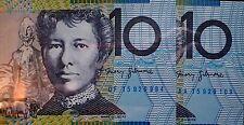 AUSTRALIA: $10 2015 FIRST PREFIX AA LAST PREFIX DF UNCIRCULATED