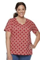 WOMEN SHIRT BLOUSE CLASSIC TEE-CROFT & BARROW White Red Size 3x NWT