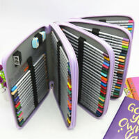 184 Slots Zipper Colored Pencil Case Pen Holder Bag Makeup Storage Organizer