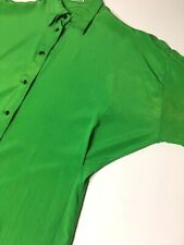 GIANNI VERSACE VINTAGE '89 100% SILK BLOUSE BATWING SHEENY GREEN FRENCH CUFFS