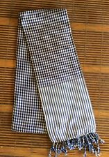 Krama Khmer traditionnel BLEU ROI Echarpe 100% coton tissé 170 x 65 Cambodge 77