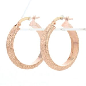 Milor Stardust Hoop Earrings Rose Gold - 14k Pierced Italy