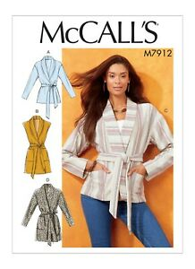 McCall's Easy SEWING PATTERN M7912 Misses' Jackets,Vest & Belt XS-M Or L-XXL